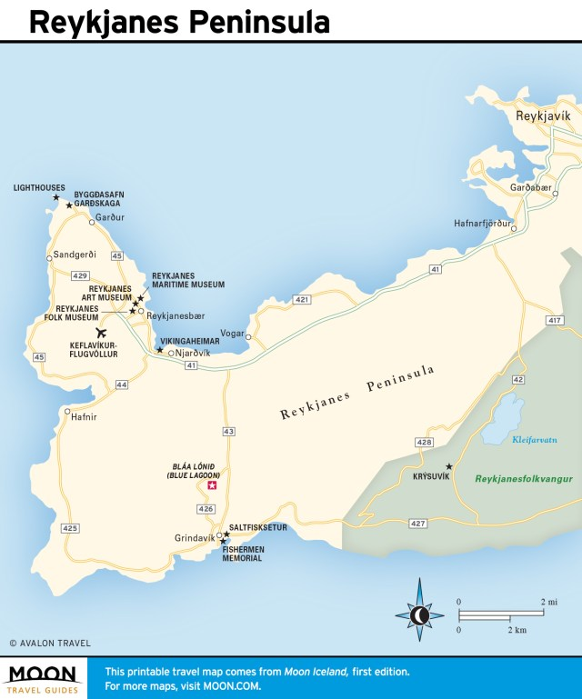 Travel map of Reykjanes Peninsula