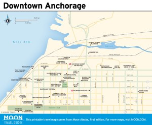 Travel map of Downtown Anchorage, Alaska