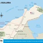 Travel map of La Guajira, Colombia