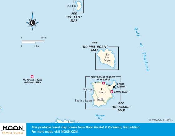 Travel map of the Ko Samui Archipelago
