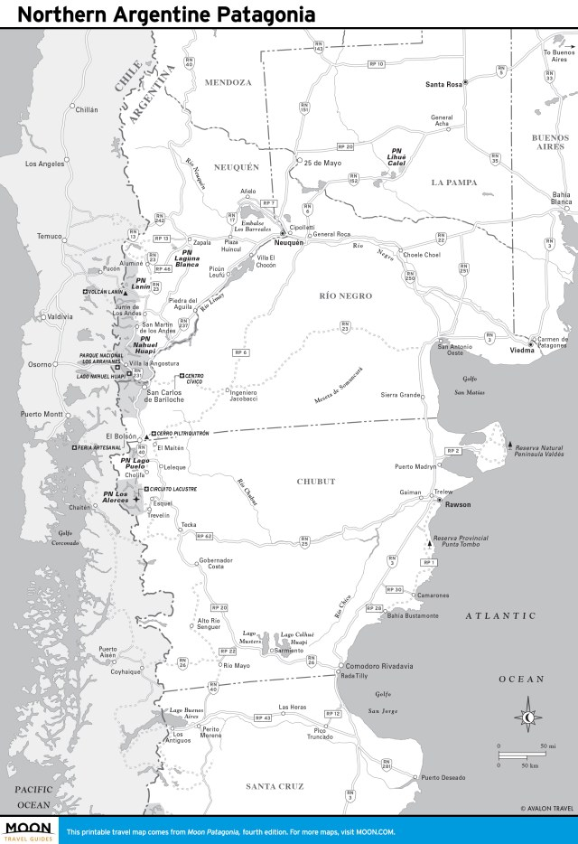 Travel map of Northern Argentine Patagonia, Argentina