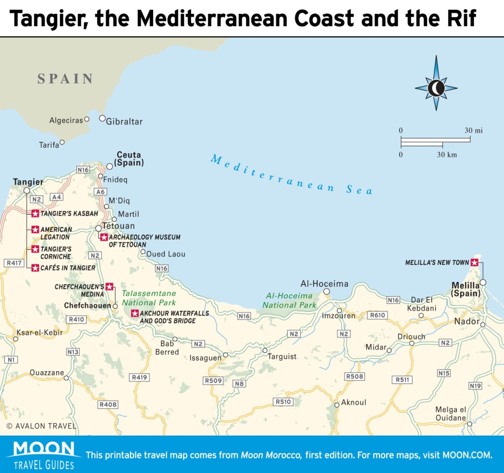 Travel map of Tangier, the Mediterranean Coast and the Rif