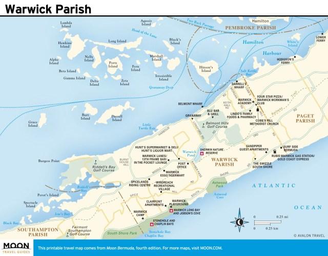 Travel map of Warwick Parish, Bermuda