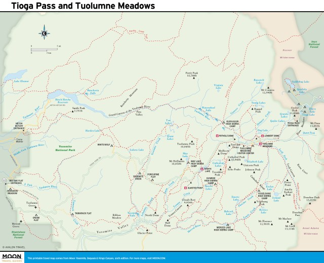 Map of Tioga Pass and Tuolumne Meadows, Yosemite