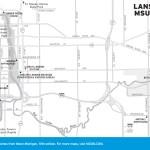 Travel map of Lansing, Michigan and MSU Campus.