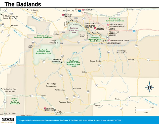 Travel map of the Badlands
