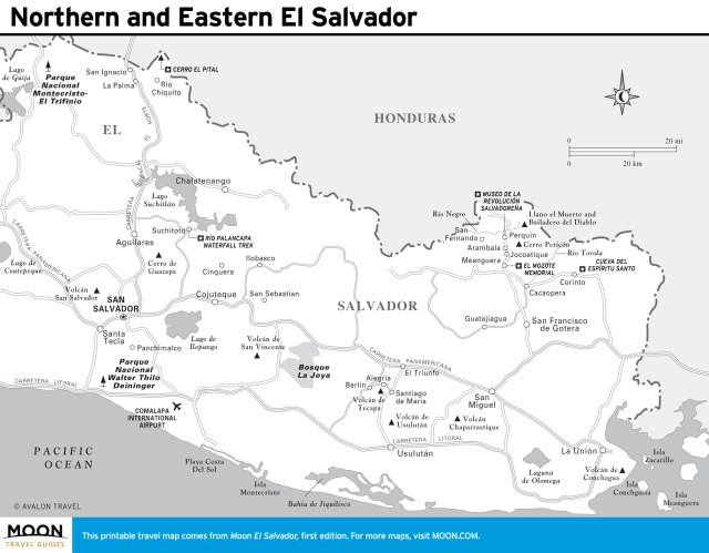 Travel map of Northern and Eastern El Salvador