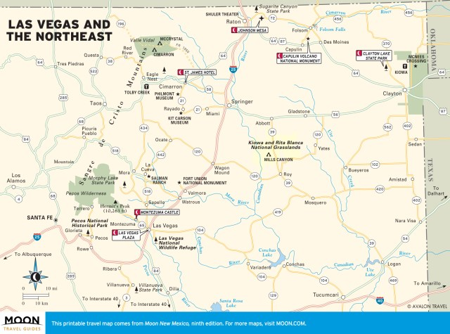 Travel map of Las Vegas and Northeast New Mexico
