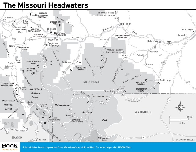 Travel map of The Missouri Headwaters in Montana