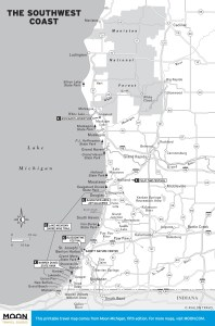Travel map of The Southwest Coast of Michigan