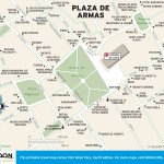 Color travel map of Plaza de Armas, Peru