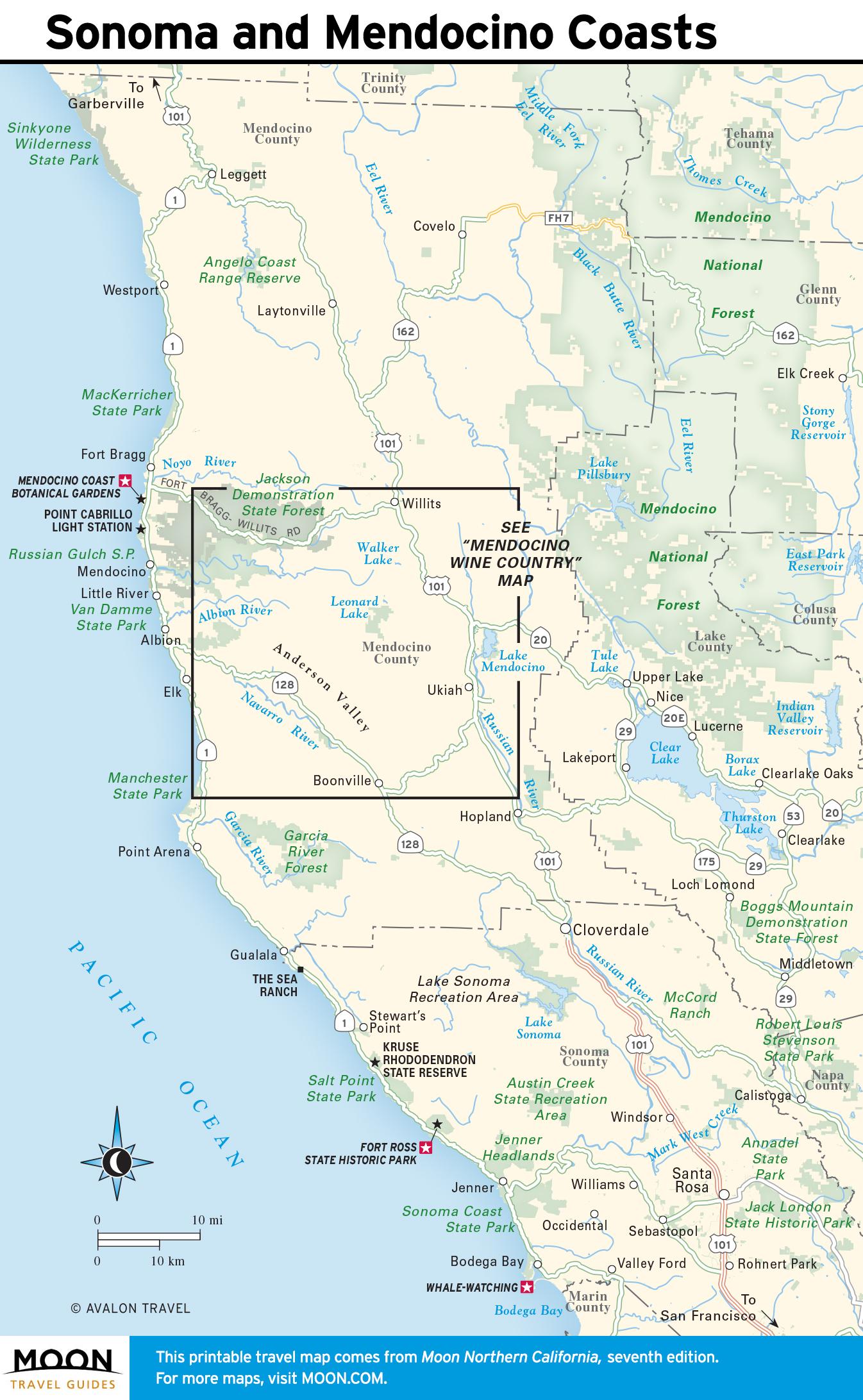 Map Of Southern California Coastal Towns.Coastal California Moon Travel Guides