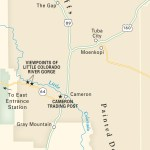 Travel map of Navajo Nation near the Grand Canyon