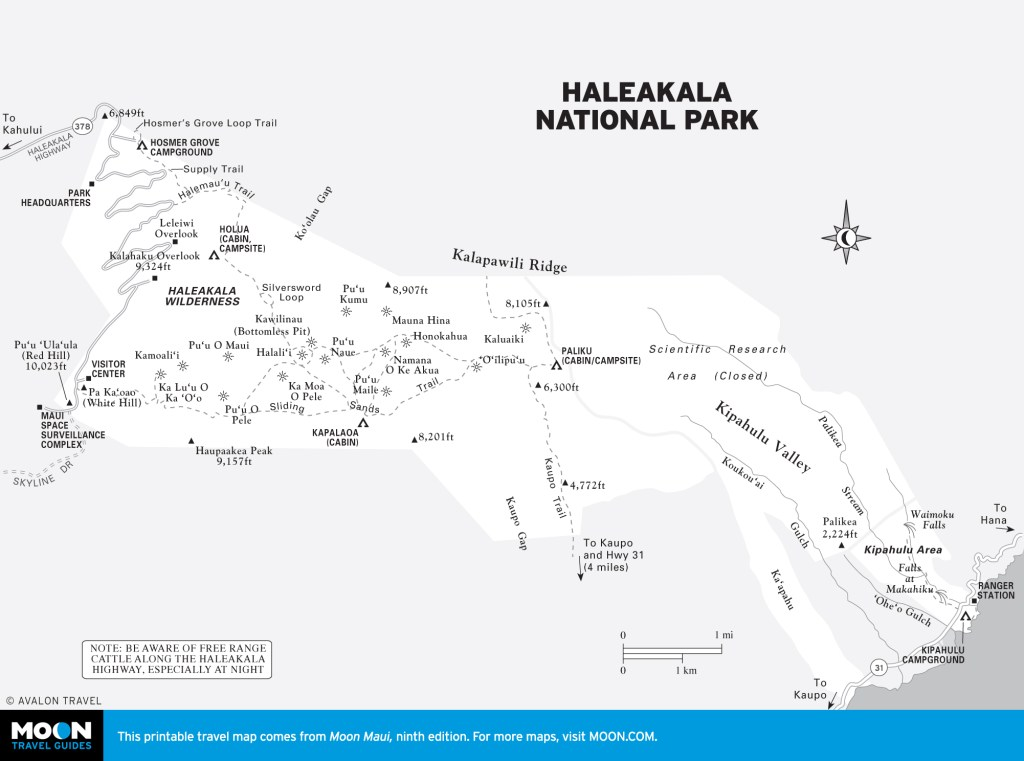 Map of Haleakala National Park, Hawaii