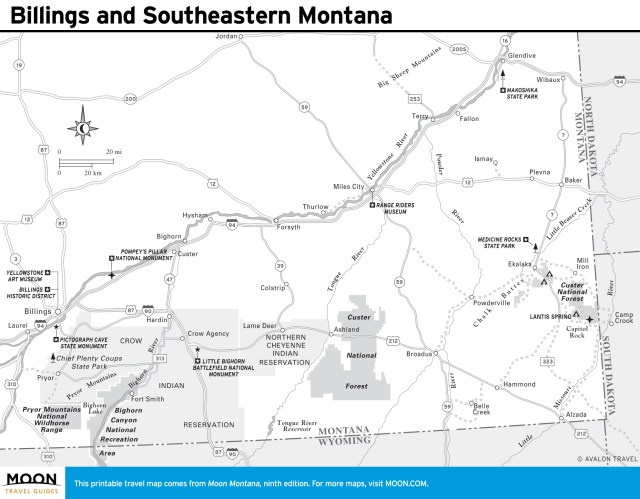Travel map of Billings and Southeastern Montana