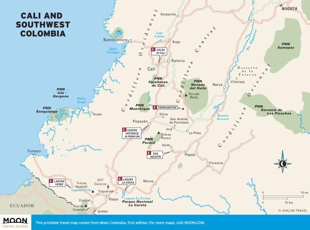 Travel map of Cali and Southwest Colombia
