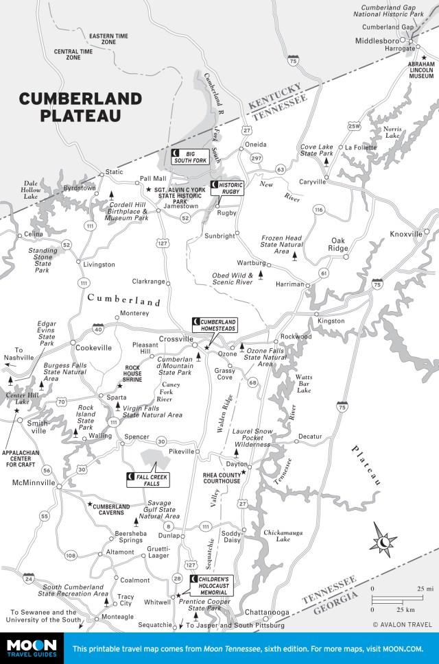 Map of Cumberland Plateau, TN