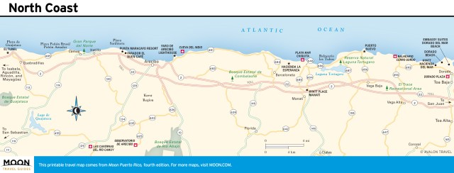 Travel map of North Coast, Puerto Rico