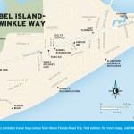 Travel map of Sanibel Island—Periwinkle Way, Florida