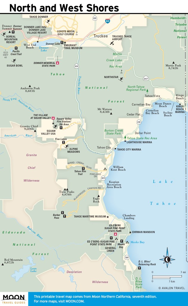 Maps - Northern California 7e - Lake Tahoe - North and West Shores