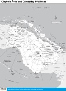 Travel map of Ciego de Ávila and Camagüey Provinces, Cuba