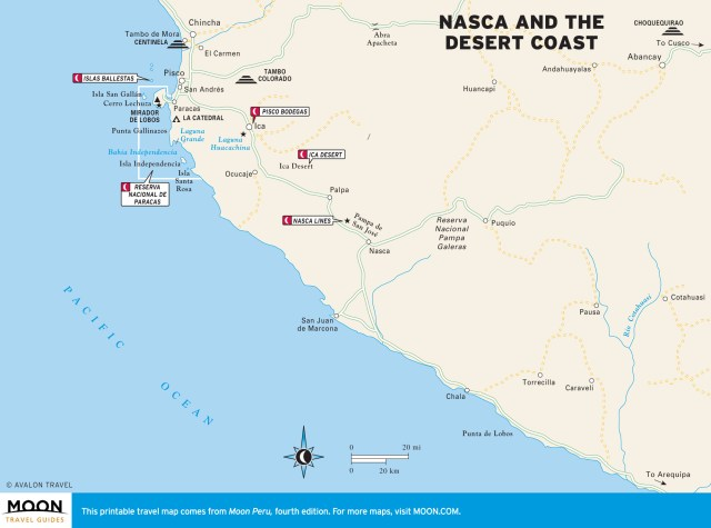 Color travel map of Nasca and Desert Coast in Peru