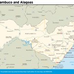 Travel map of Pernambuco and Alagoas, Brazil