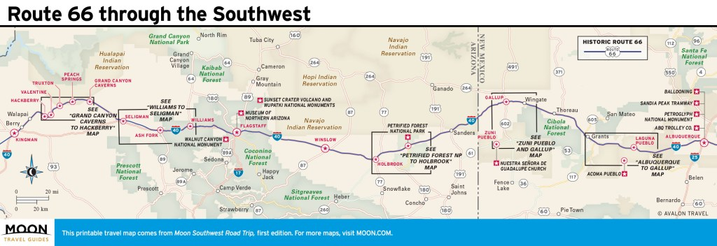 Travel map of Route 66 through the Southwest