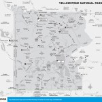 Travel map of Yellowstone National Park in Wyoming