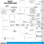 Travel map of West Yellowstone National Park in Wyoming
