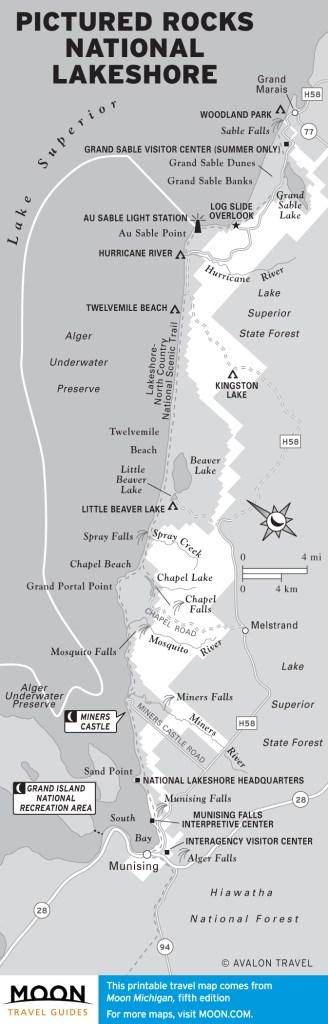 Travel map of Pictured Rocks National Lakeshore, Michigan