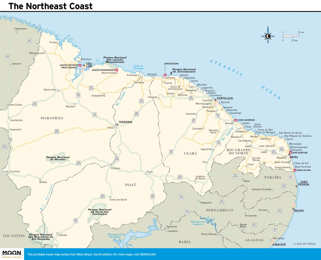 Travel map of the Northeast Coast of Brazil