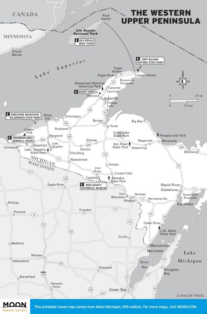 Travel map of Michigan's Upper Peninsula (East)