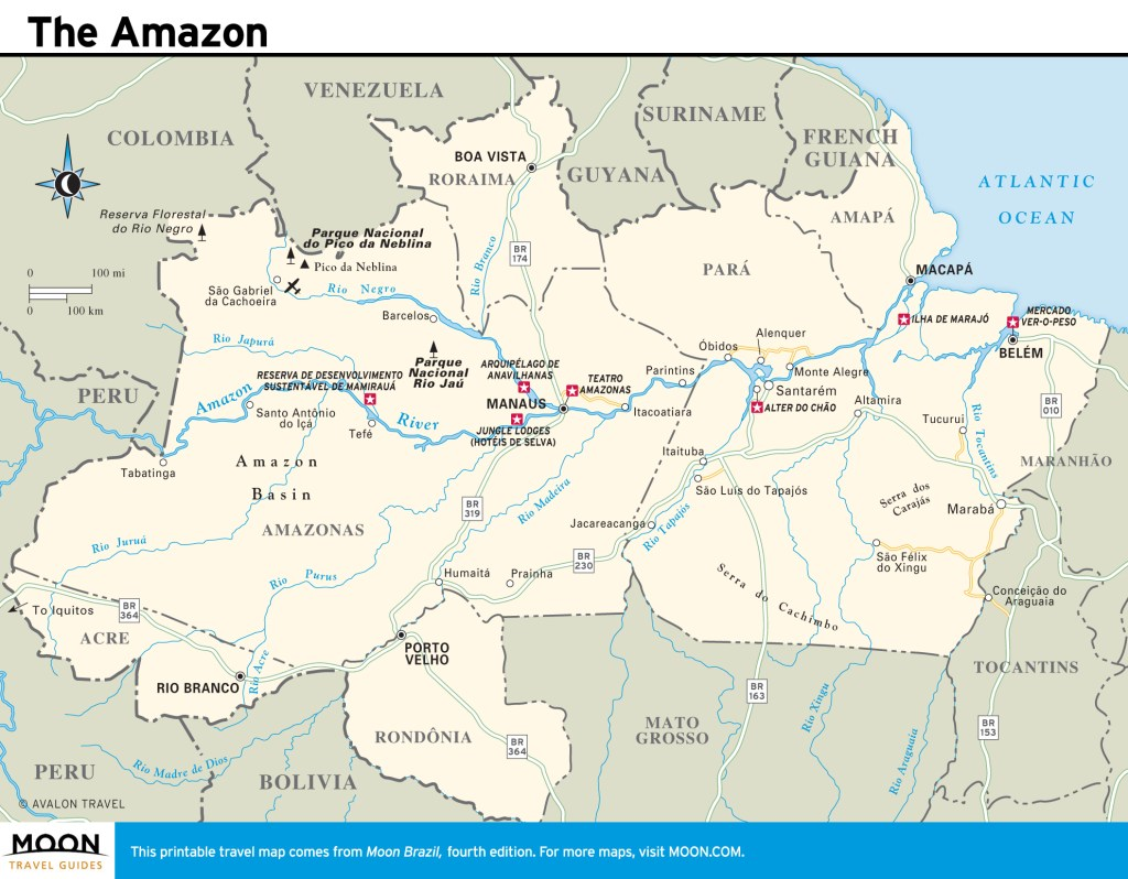 Travel map of the Amazon in Brazil