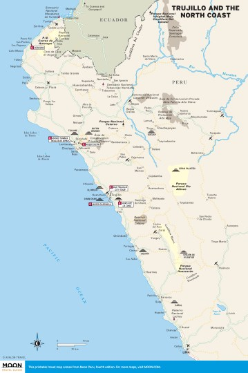 Color travel map of Trujillo and the North Coast of Peru
