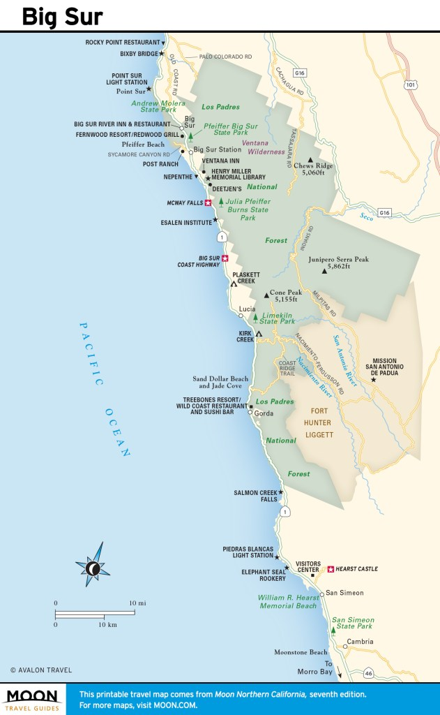 Travel map of Big Sur