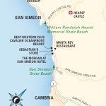Travel map of Cambria and San Simeon
