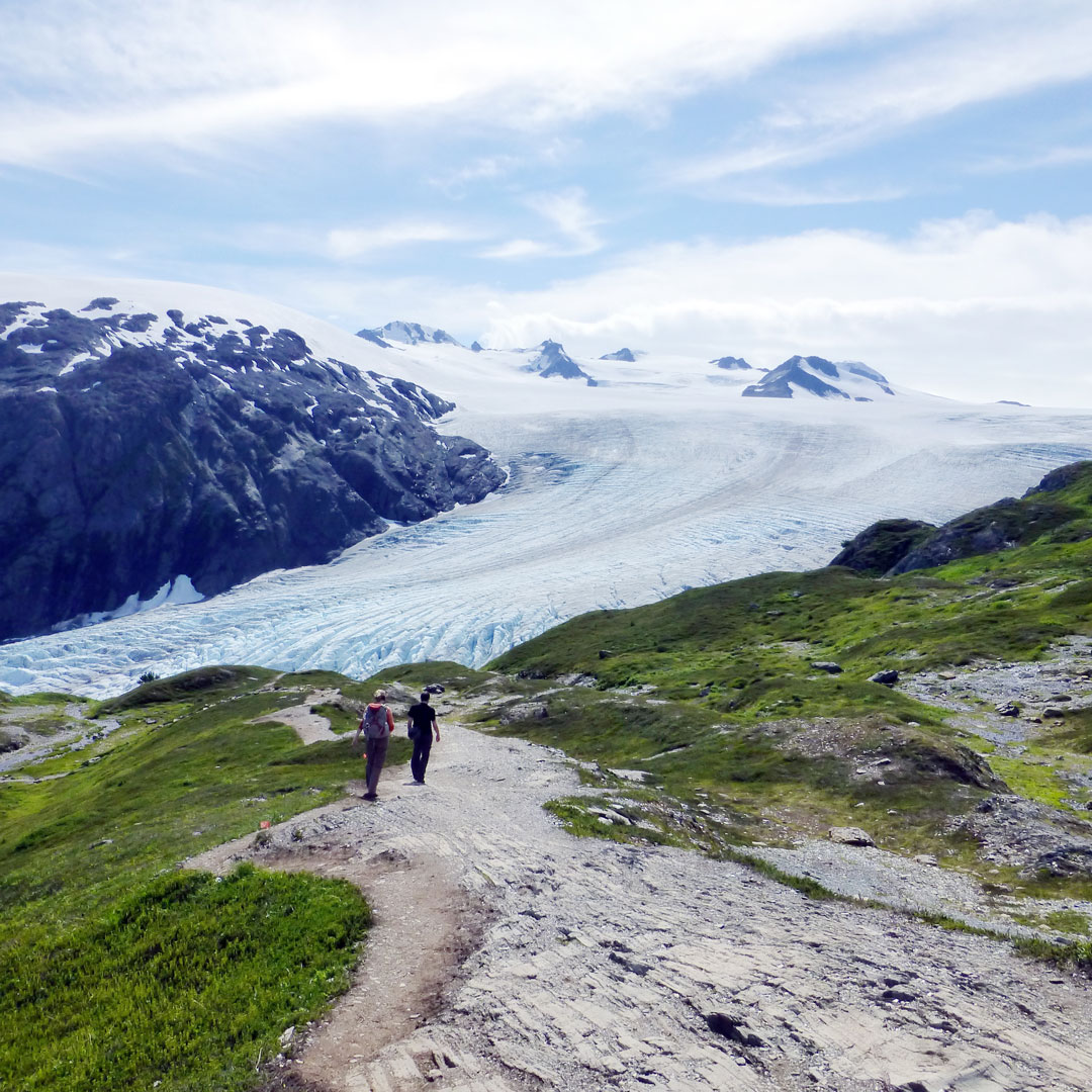 hikers on a trail heading toward exit glacier in Alaska