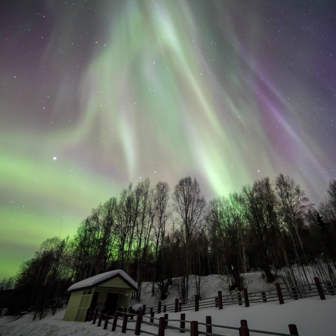 green and purple aurora borealis over a cabin