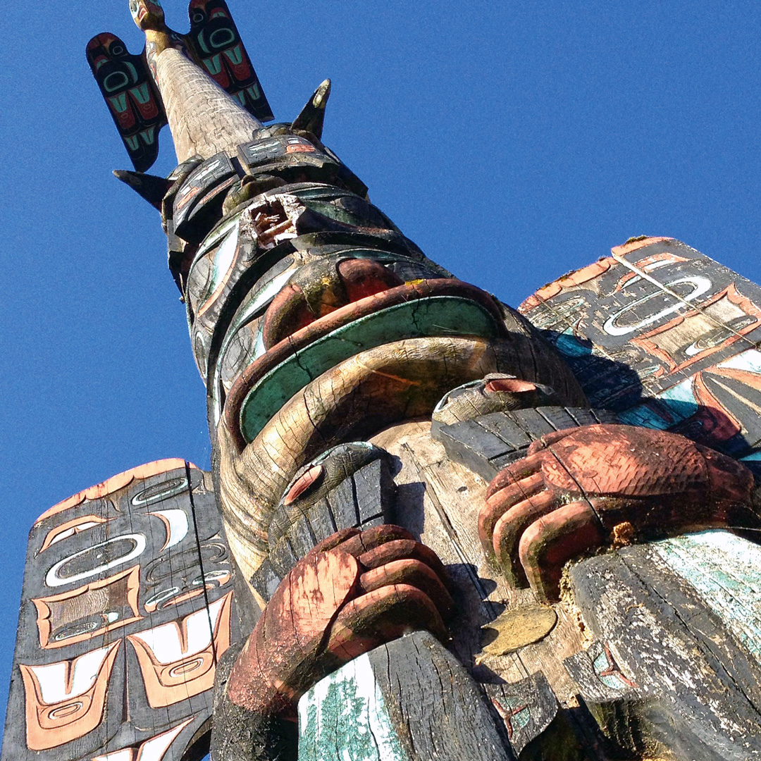view from below of a totem pole