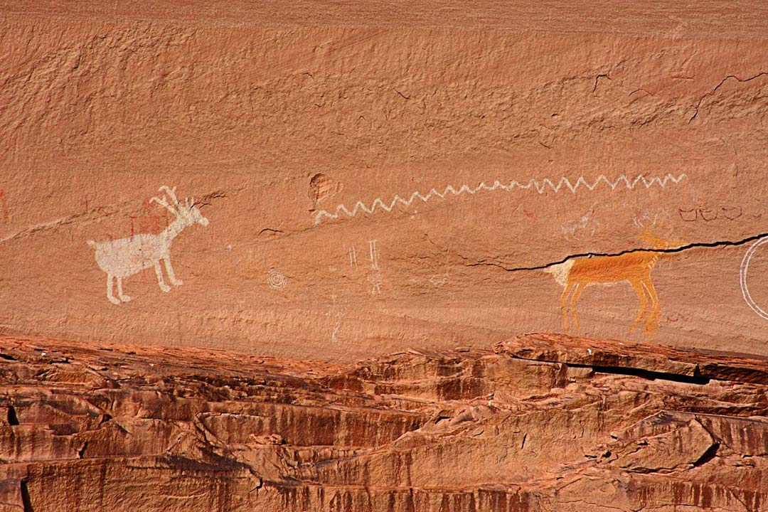 Pictographs in Canyon De Chelly National Monument.