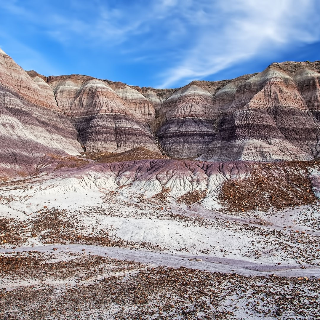 mountains lined with color in the Painted Desert