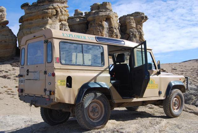 A 4x4 stands ready with door open at El Calafate Patagonia