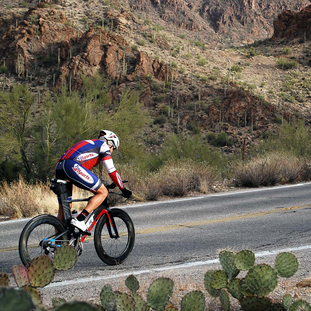 A cyclist riding in Tucson Mountain Park