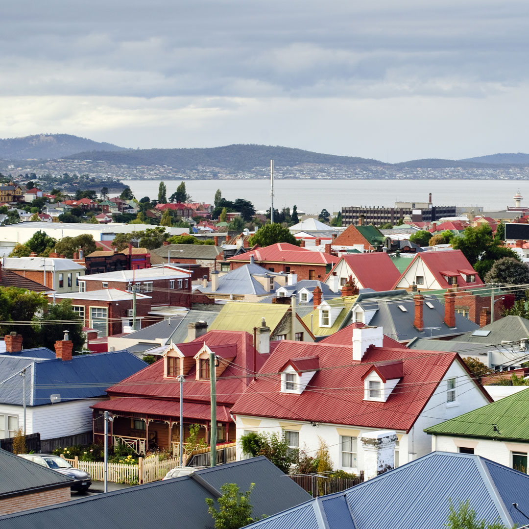 rooftops and view of the water in Hobart