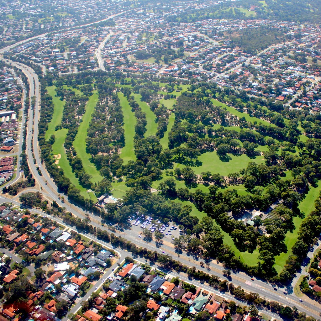 aerial view of suburban Perth