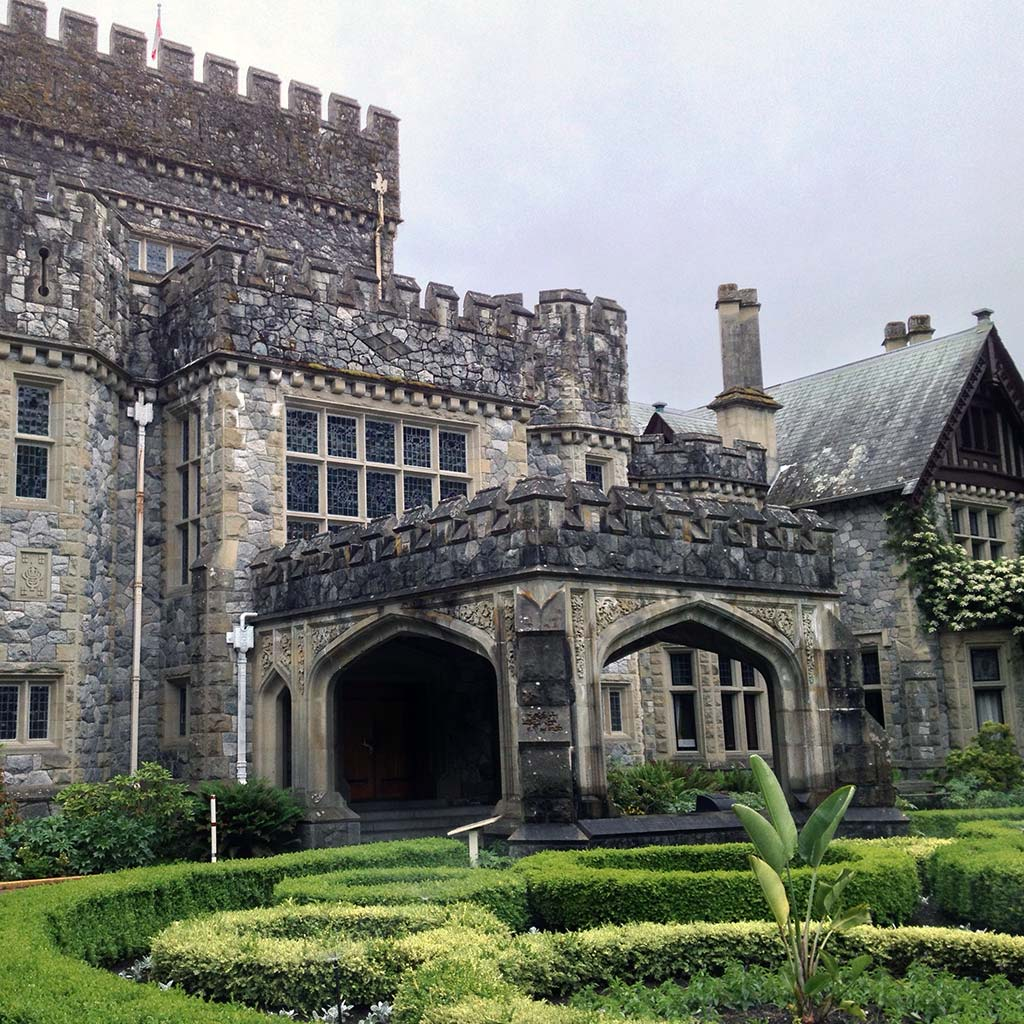 The front of stately Hatley Castle in Victoria, BC.