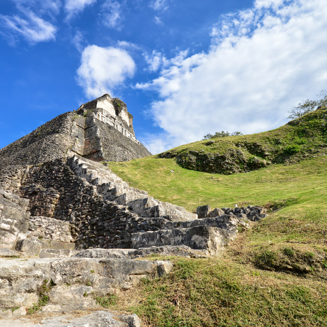 view looking up at xunantunich ruins in Belize