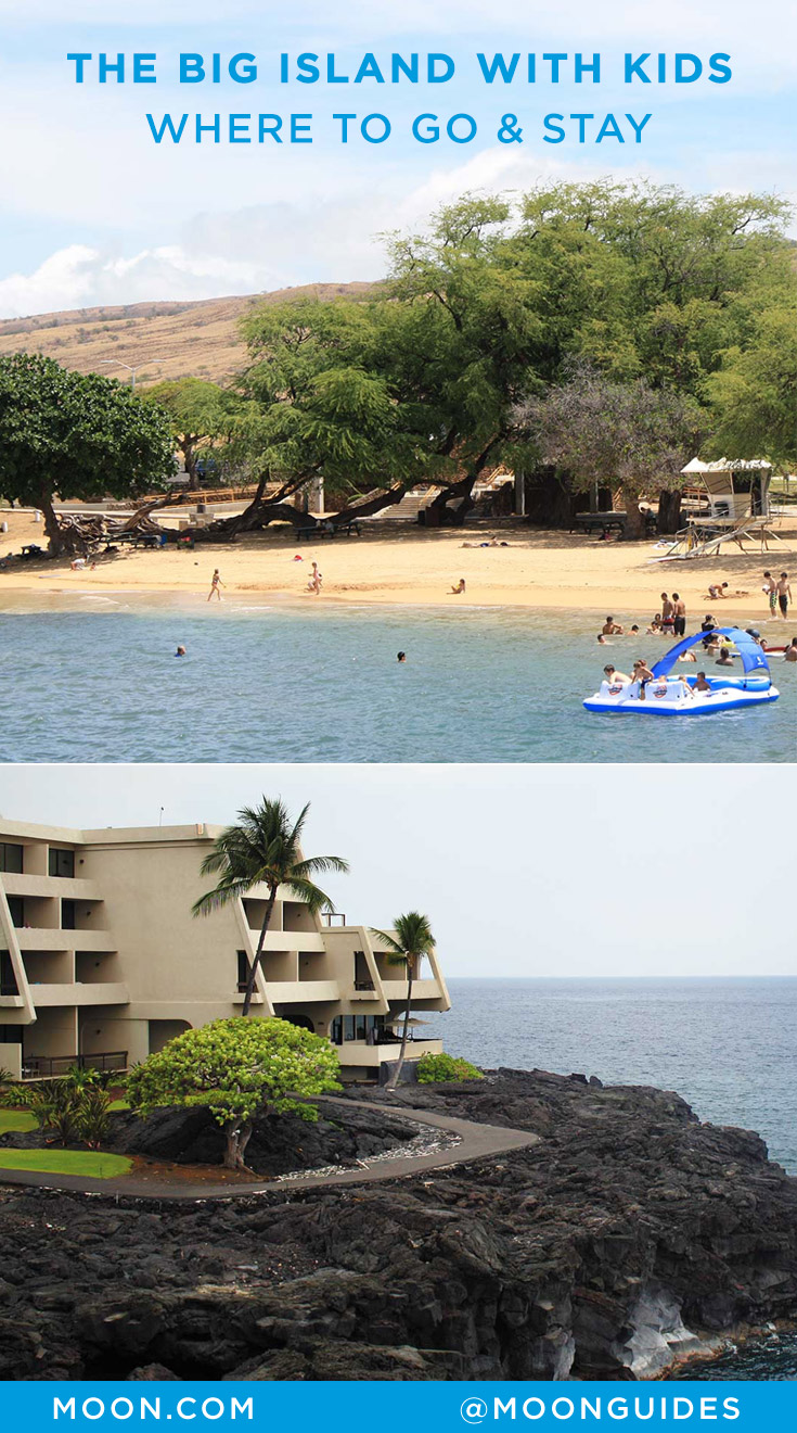 Pinterest graphic with photos of a beach and hotel on the Big Island of Hawaii