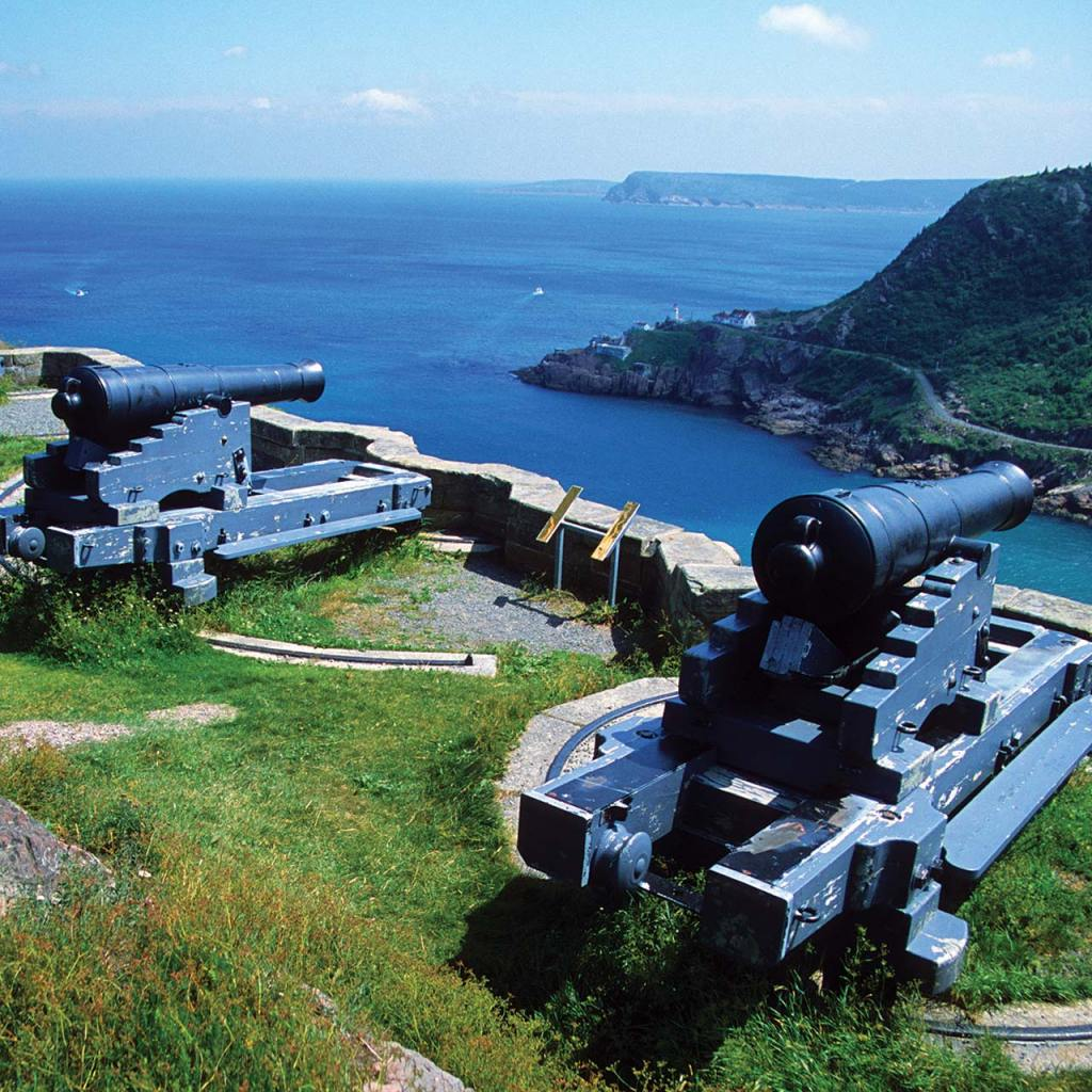 View from atop Signal Hill at the gun emplacements.